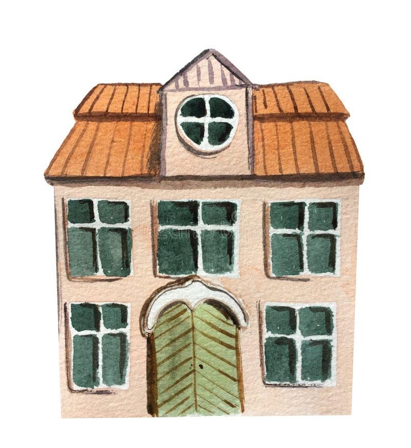 Stort två-berättelse hus Vattenf?rgillustration f?r design stock illustrationer