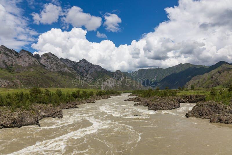 Stort vårvatten på den Katun floden och dess omgeende berg, Altai, Ryssland royaltyfria bilder