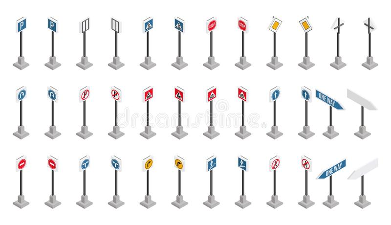 Stort val av vägmärken i isometrisk stil vektor illustrationer