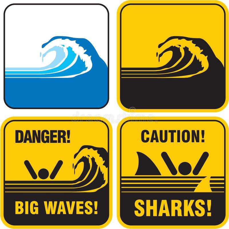 Stort wavestecken för fara. Tsunami stock illustrationer