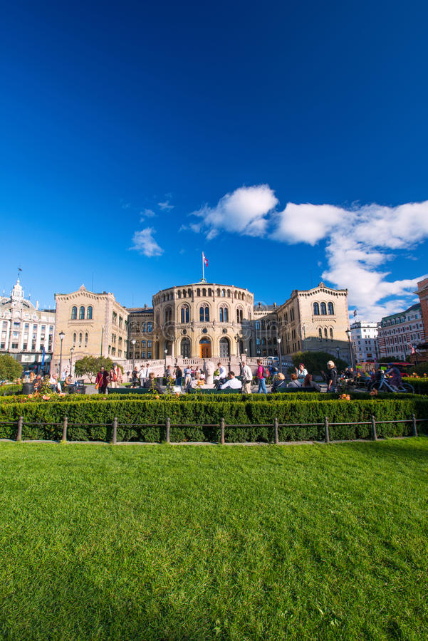 Storting ou Parlament em Oslo Noruega imagem de stock royalty free