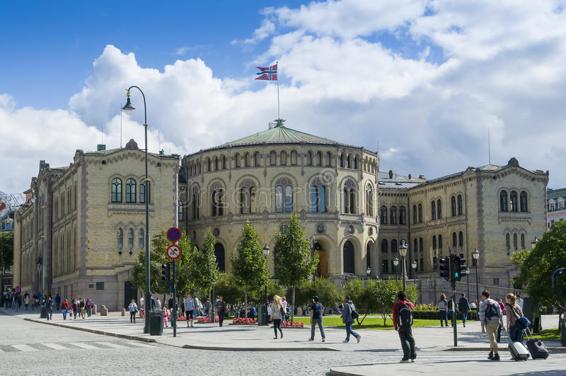 Stortinget parlament Norwegia obrazy stock