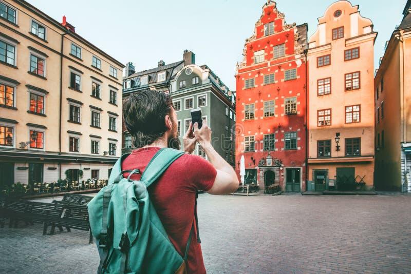Stortorget för mansightStockholm stad gränsmärken royaltyfri foto