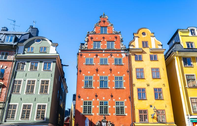 Stortorget square in Old Town Gamla Stan in Stockholm, the capital of Sweden. Colorful houses at famous Stortorget town square. In Stockholm`s historic Gamla royalty free stock photo