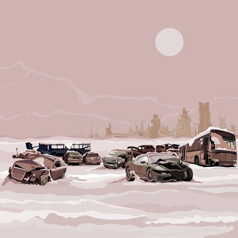 Stortplaats gesloopte postapokalipsisa van de auto's kernwinter vector illustratie