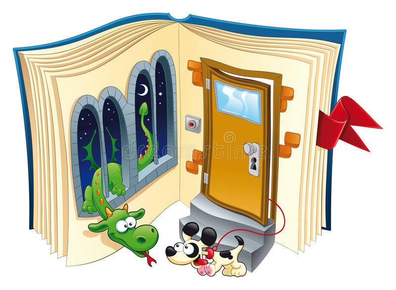 Story book. Funny vector and cartoon illustration with dog and dragon