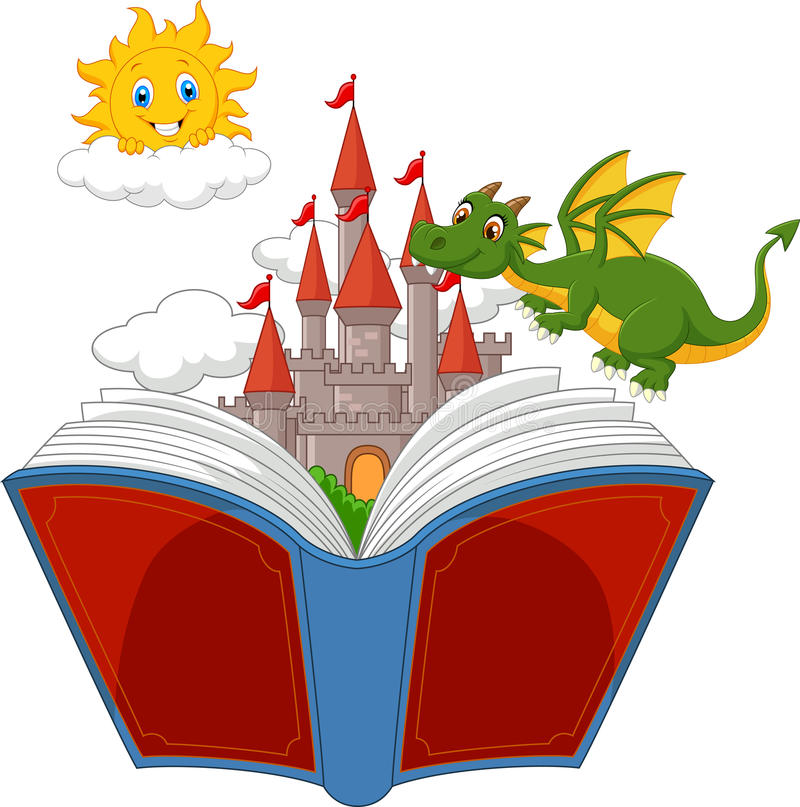 story book with cartoon castle dragon and sun stock vector rh dreamstime com free story book clipart storybook characters clipart