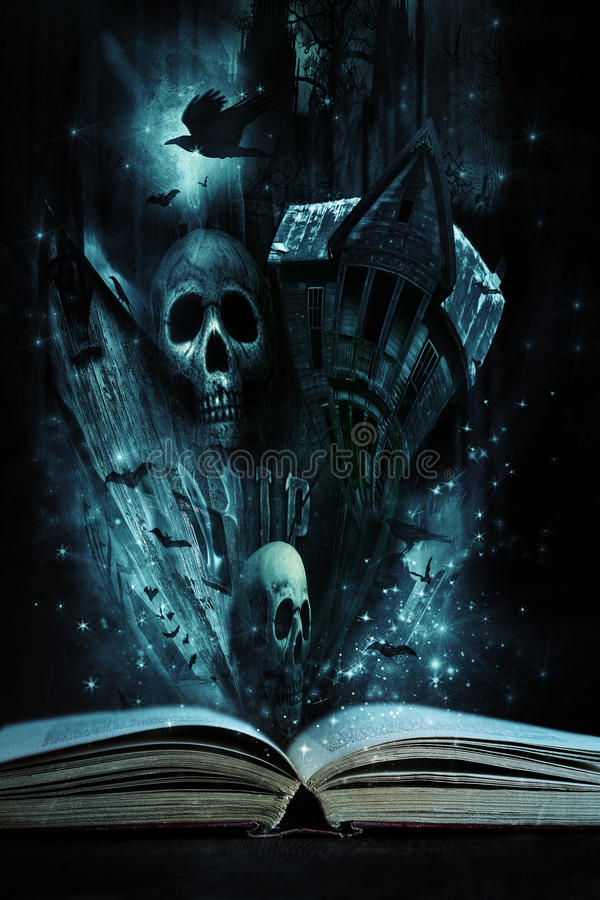 Story book with Halloween stories coming alive royalty free stock images