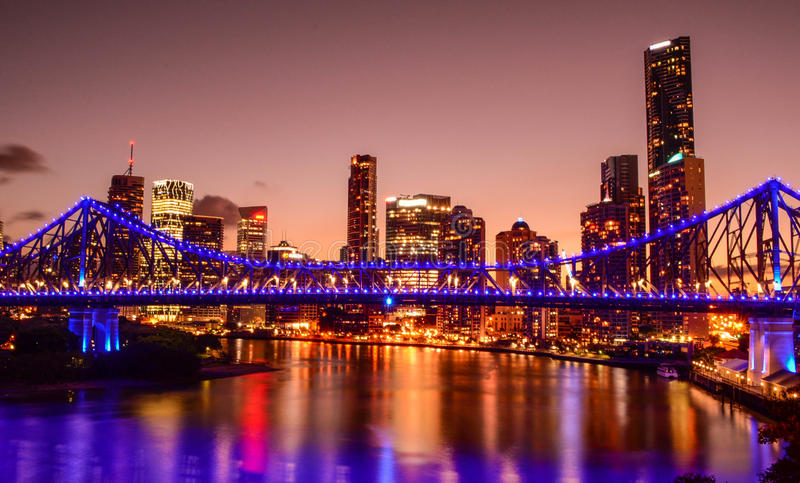 The Story Bridge and Brisbane CBD. Taken from Wilson's Lookout royalty free stock photography