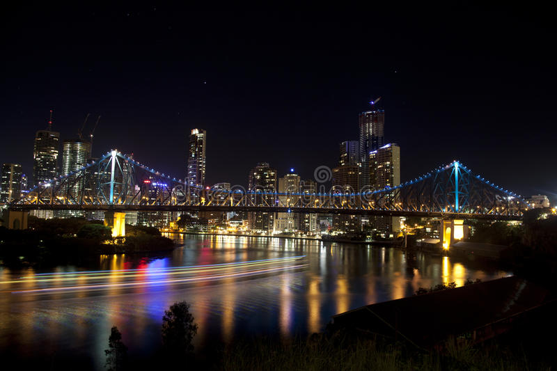 Download Story Bridge And Brisbane City With Boat Lights Editorial Image - Image: 19115885