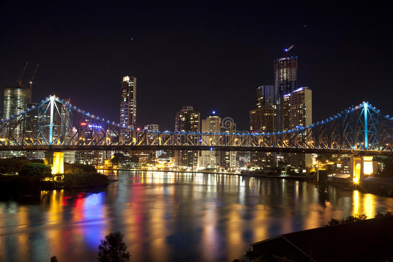 Story Bridge and Brisbane City center stock images