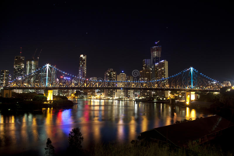 Story Bridge and Brisbane City with still water royalty free stock photo