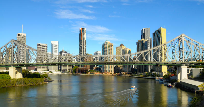 Story Bridge and Brisbane city, river view, Australia. Story Bridge with Brisbane river and City in background. Space for copy stock photos