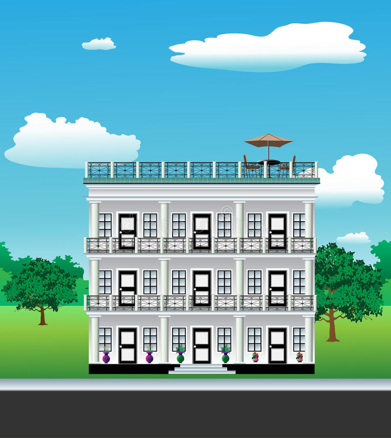 3 story house vector illustration