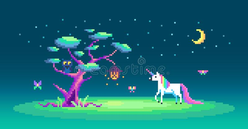 The story about one cute unicorn and magic tree. royalty free illustration