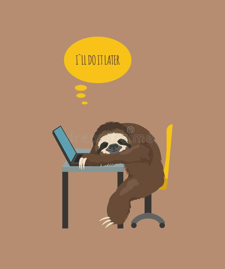 The story of one sloth. At work, study. Funny cartoon sloths in different postures set vector illustration