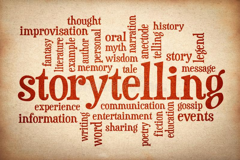 Story and storytelling word cloud. Red text on canvas stock images