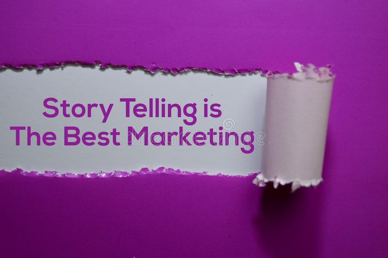 Story Telling is The Best Marketing Text written in torn paper stock photos