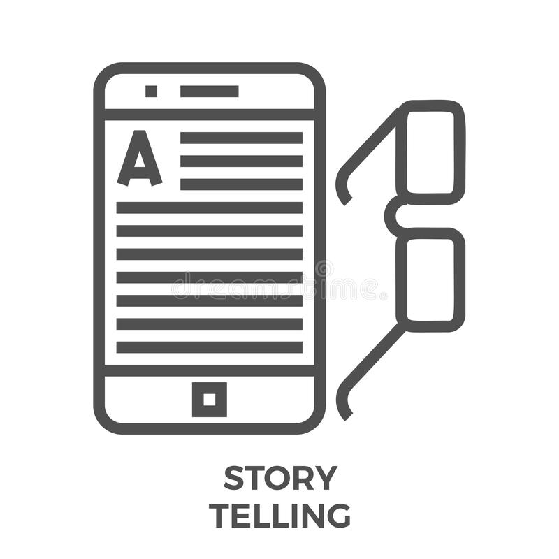 Story telling line icon. Story Telling Thin Line Vector Icon Isolated on the White Background vector illustration