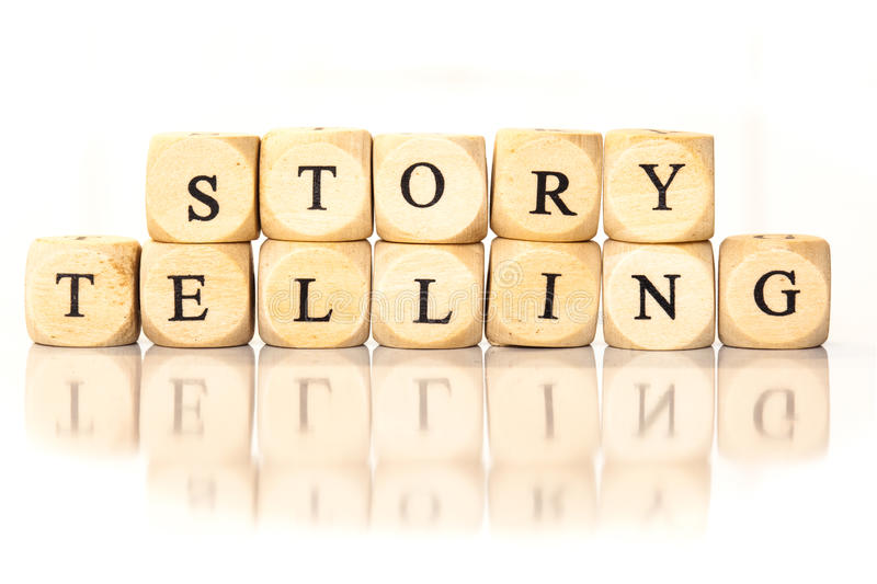 Story Telling spelled word, dice letters with reflection. Term Story Telling spelled from toy cubes, dice letters with reflection on bottom. Studio shot on White stock photos