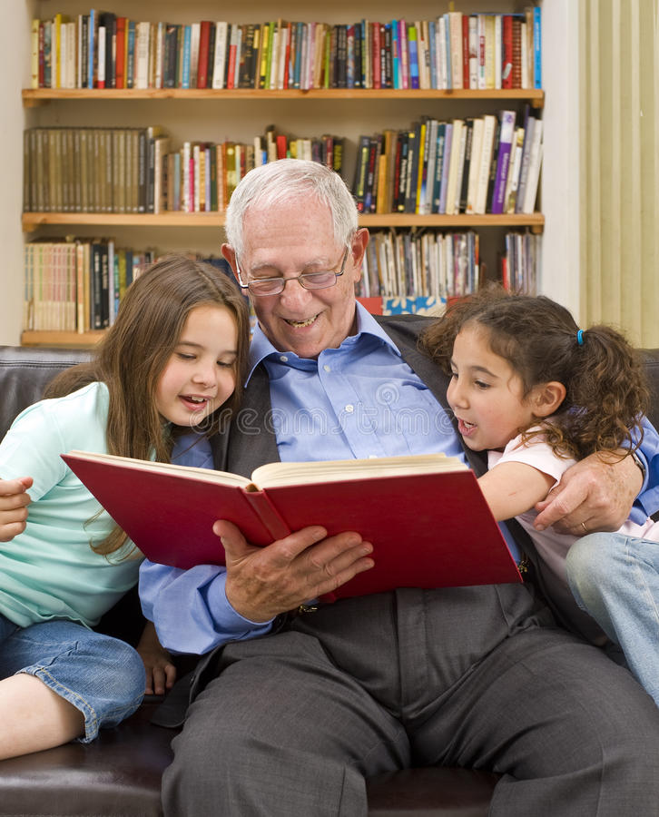 Download Story time with grandpa stock photo. Image of education - 12717878