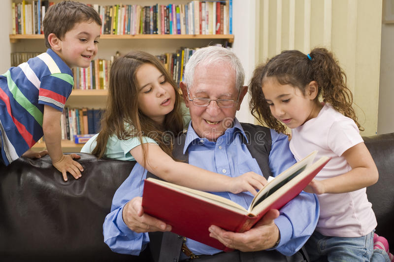 Download Story time with grandpa stock image. Image of child, little - 12717947