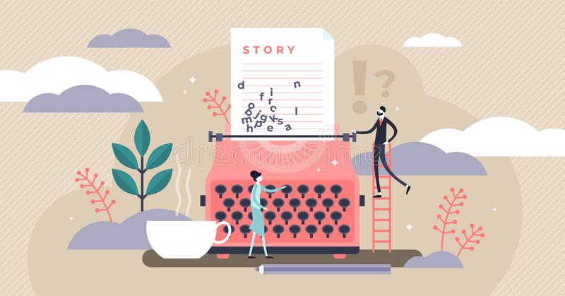 Story vector illustration. Flat tiny literature text author persons concept vector illustration