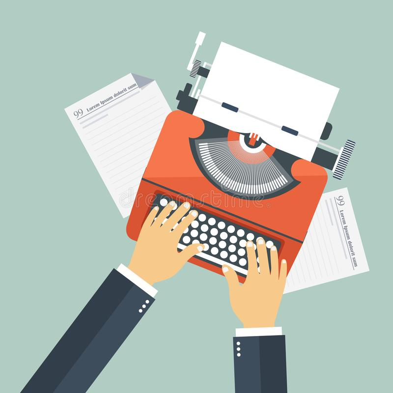 Story writing concept. Equipment for journalist on desk royalty free illustration