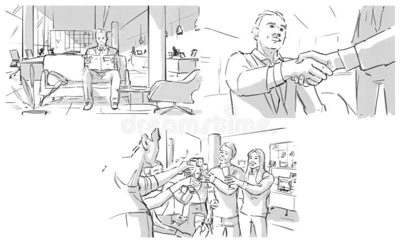 Storyboard: job interview, shaking hands, team success. Celebrating in office vector illustration