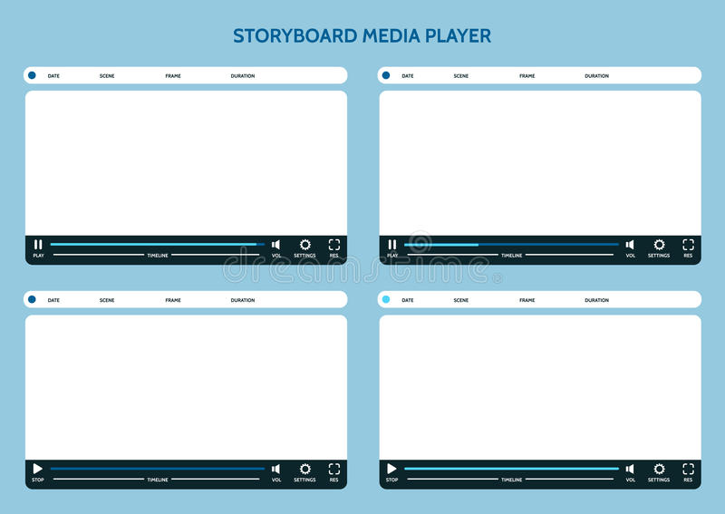 Storyboard media player. Video storyboard design template royalty free illustration