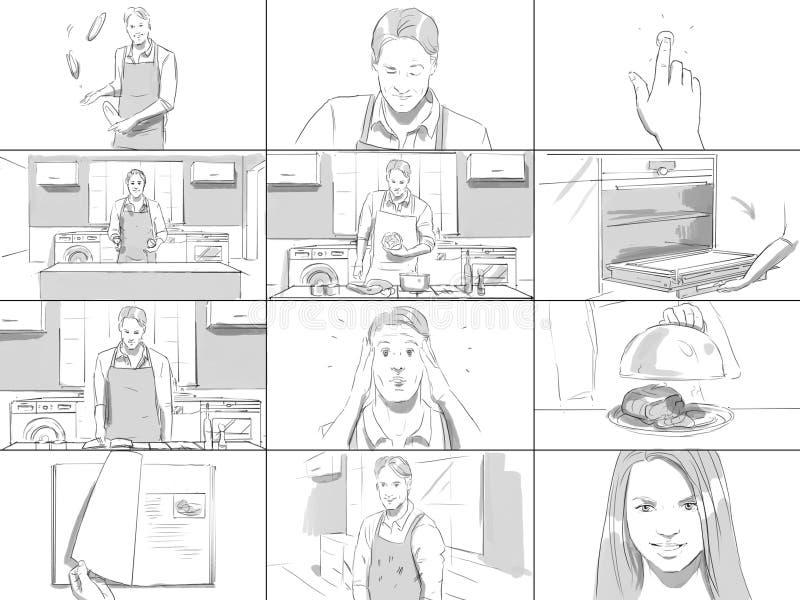 Storyboard o mężczyzna kucharstwie ilustracji