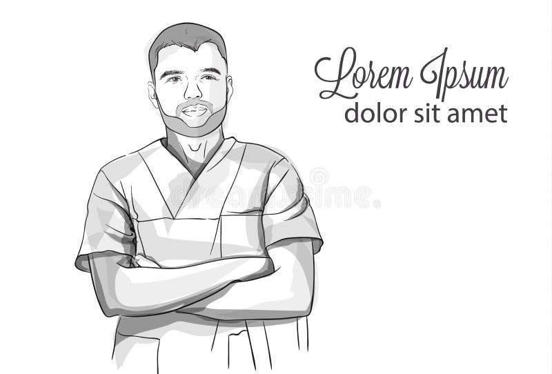Storyboard sorridente di schizzo di riuscito medico sicuro di sé vettore Illustrazioni dettagliate del carattere illustrazione vettoriale