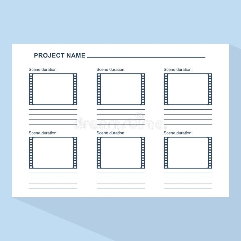 Storyboard Template On Blue Stock Vector Illustration Of Draft