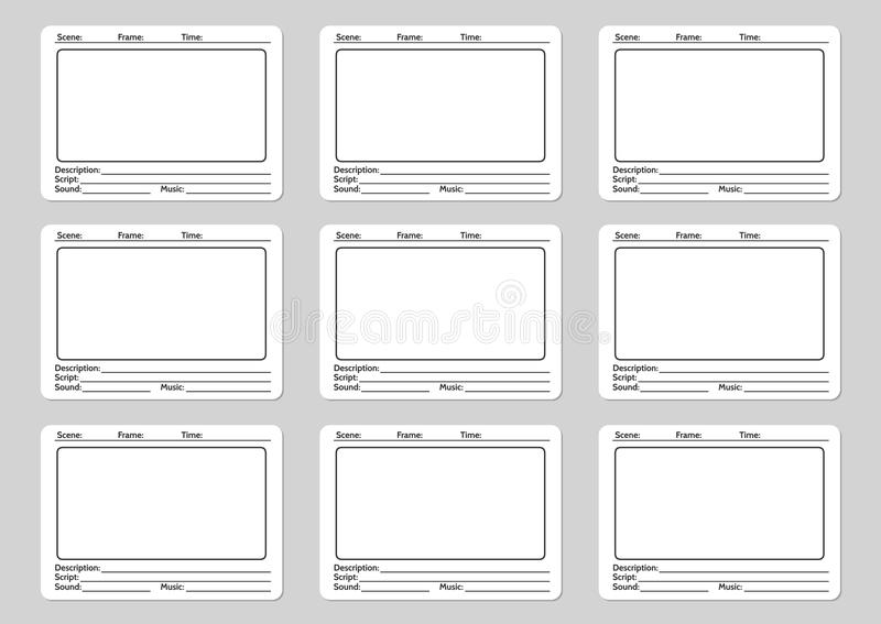 Storyboard template for film. Story icons. Vector illustration stock illustration