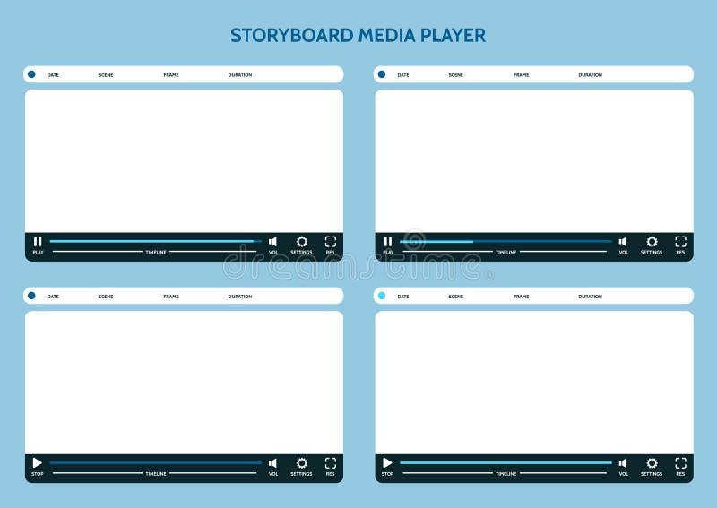 Storyboardmassmediaspelare royaltyfri illustrationer