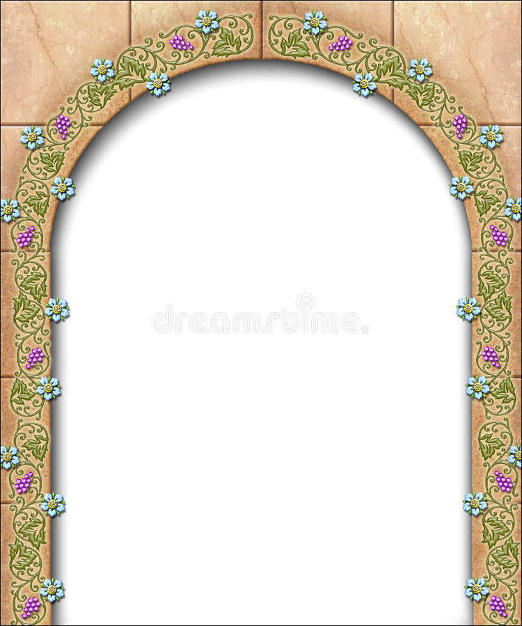 Storybook arch border. An illustration of a fairy tale arch adorned by flowers