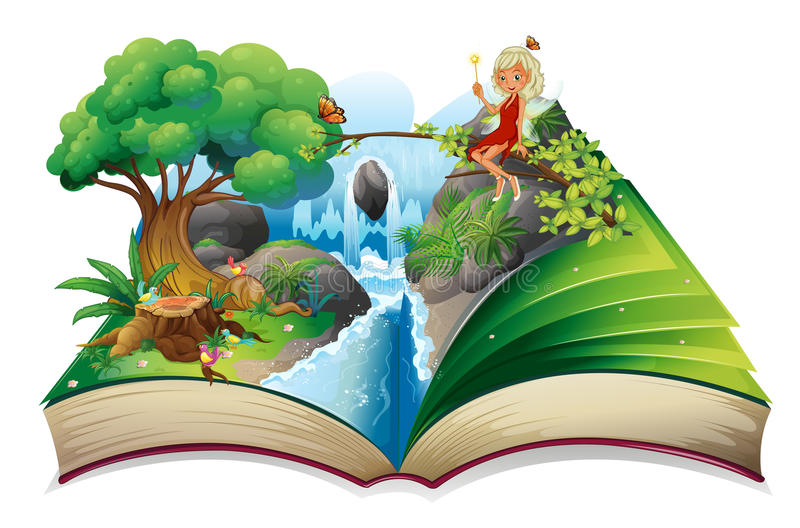 A storybook with an image of nature and a fairy. Illustration of a storybook with an image of nature and a fairy on a white background vector illustration