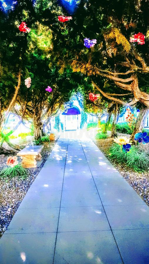 Storybook Path. Photo art of a make believe colorful fairytale world royalty free stock image