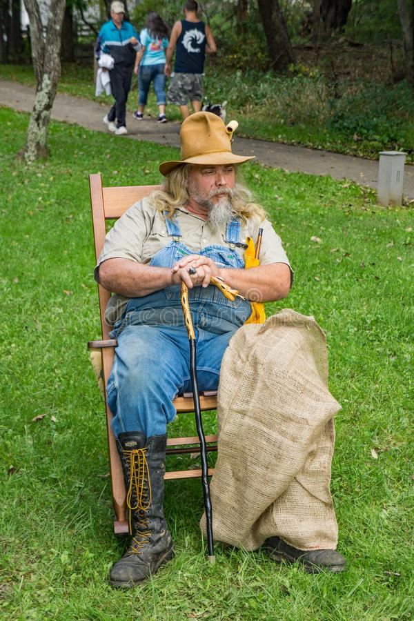 Storyteller at the 2nd Annual Music and Art Festival. Bedford County, VA – September 29th: Storyteller telling folktales at the Second Annual Music and stock image