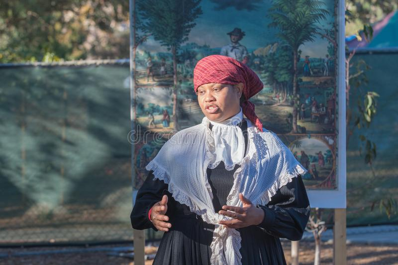 Storyteller with typical clothing during Tumbleweed Festival. Simi Valley, CA - USA - November 19, 2017: Storyteller with typical clothing during Tumbleweed stock image