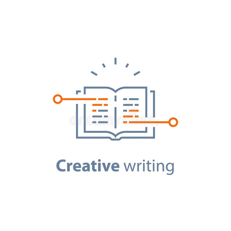 Storytelling concept, creative writing, open book, exam preparation, learn grammar, read brief summary. Creative writing, open book, storytelling concept, text stock illustration