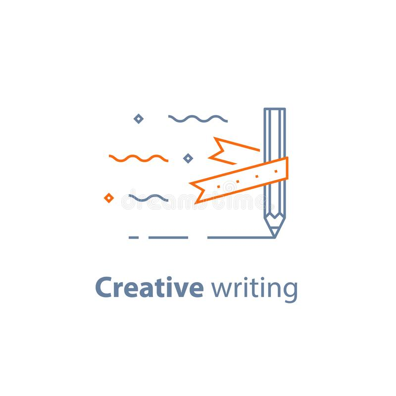 Storytelling concept, creative writing, pencil and ribbon, copywriting, linear icon vector illustration