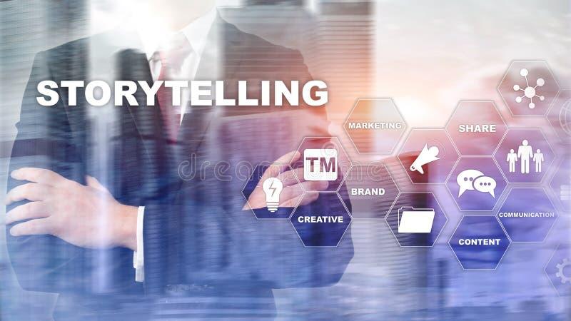 storytelling Concepto financiero del negocio de la narración de cuentos Fondo enmascarado extracto foto de archivo