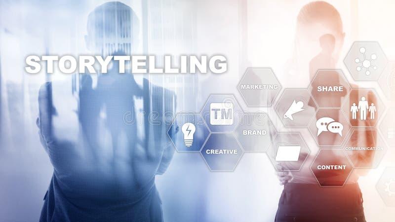 storytelling Concepto financiero del negocio de la narraci?n de cuentos Fondo enmascarado extracto foto de archivo