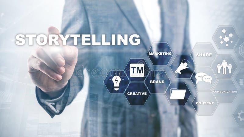 storytelling Concepto financiero del negocio de la narraci?n de cuentos Fondo enmascarado extracto libre illustration