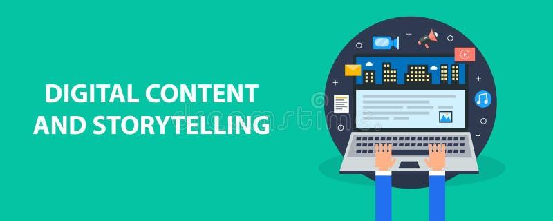 Storytelling die, online, gebruiker die digitale inhoud voor publieksovereenkomst publiceren brandmerken Vlakke ontwerp vectorban stock illustratie