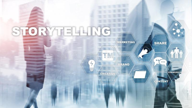 Storytelling. Story Telling Financial Business concept. Abstract blurred background royalty free illustration
