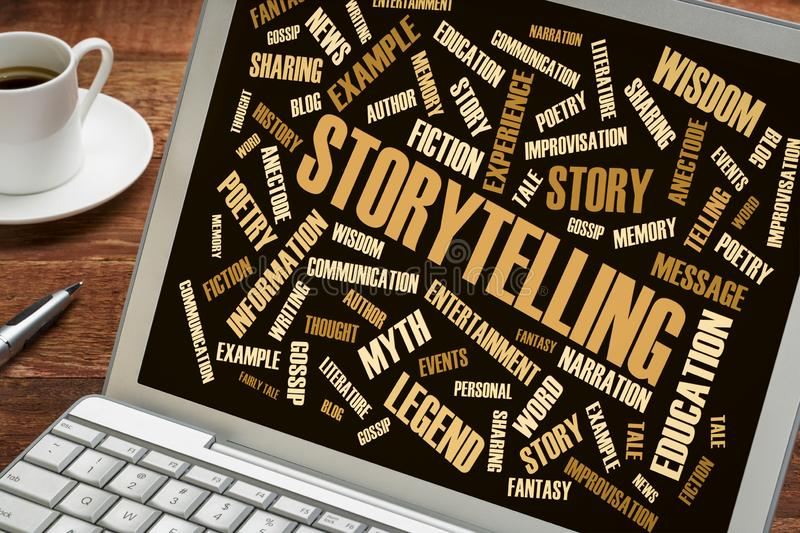 Storytelling and story word cloud on laptop. Storytelling word cloud on a laptop with a cup of coffee royalty free stock photo