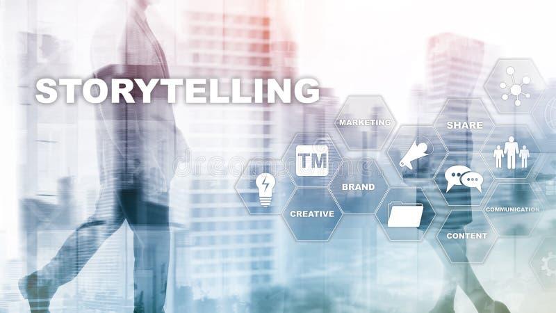 storytelling Verhaal die Financieel Bedrijfsconcept vertellen Samenvatting Vage Achtergrond stock illustratie