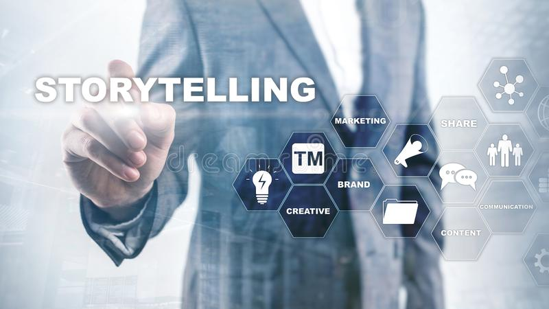 storytelling Verhaal die Financieel Bedrijfsconcept vertellen Samenvatting Vage Achtergrond royalty-vrije illustratie